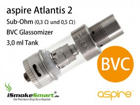 aspire Atlantis 2 BVC Sub-Ohm Glassomizer Kit (0,3Ω & 0,5 Ω)