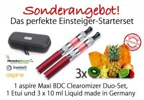 Starterset aspire Maxi Duo-Set (rot) inkl. 3 Liquids & Etui