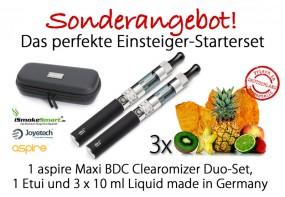 Starterset aspire Maxi Duo-Set (schwarz) inkl. 3 Liquids & Etui