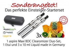Starterset aspire Maxi Duo-Set (silber) inkl. 3 Liquids & Etui